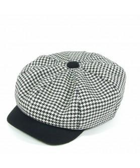 Sapca Gavroche Tweed Alb cu Negru Model (Peaky Blinders)