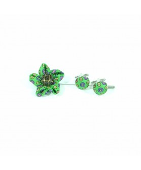 Set Pin de Rever cu Butoni Verde cu Mov