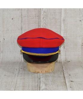 Sapca Model Prusac Rosu Regal  Cu Vipusca Albastra