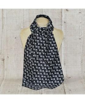 Cravata Ascot Negru Print Bleu