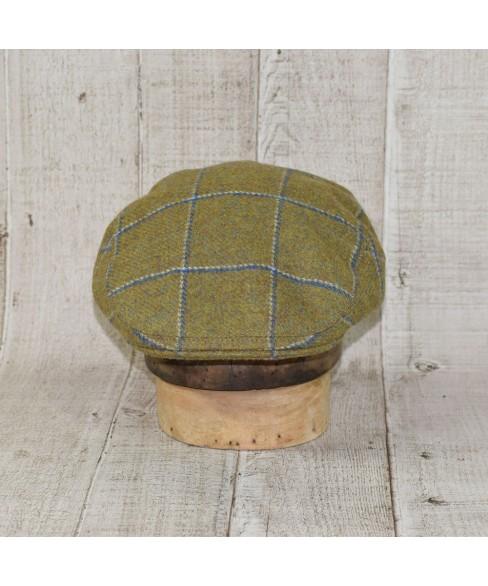 Set Sapca Model Clasic Cu Fular Carou Olive Cu Albastru