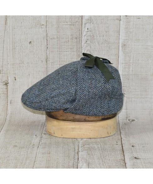 Sapca Model Country Flat Slate Tweed Bleu Cu Kaki