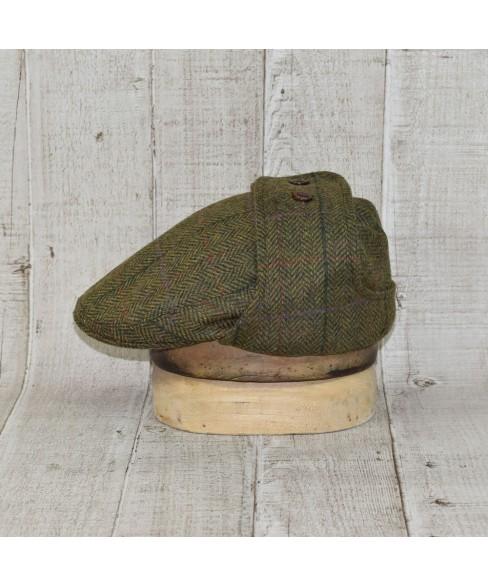 Set Sapca Model Komitka Kapa Cu Fular Herringbone Carou Verde Cu Bej