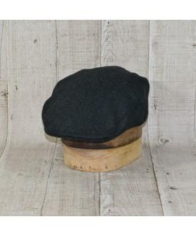 Set Sapca Model Clasic Cu Fular Tweed Kaki Cu Negru