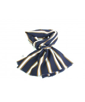 Casual Orange Scarf with Navy Blue