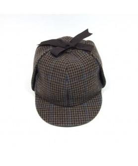 Palarie  Deerstalker Tweed Maro cu Bej - Colectia Ralitza Luxury Model Sherlock Holmes