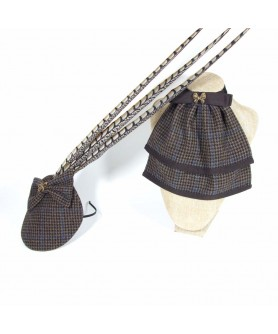 Set Veil with Feathers and Jabot Tweed Brown with Blue
