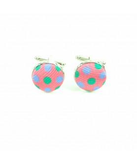 Pink Colored Print Cufflinks
