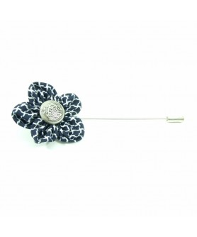 Navy Blue and White Lapel Pin