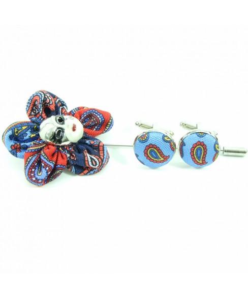 Set Pin de Rever cu Butoni Rosu cu Albastru