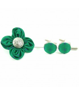 Green and Blue Lapel Pin and Cufflinks