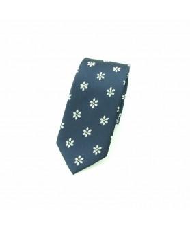 Cravata Bleumarin cu Flori Albe
