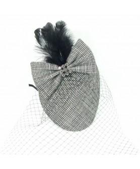 Black White Carpet Feather Veil