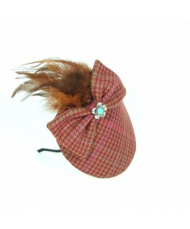 Veil with Tweed Lila Feathers