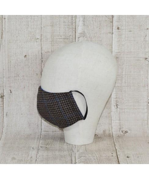 Masca Fashion Tweed Overcheck Maro Cu Albastru