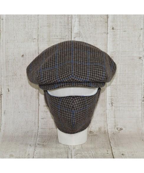 Set Sapca Model Clasic Vintage Cu Masca Fashion Tweed Overcheck Maro Cu Albastru