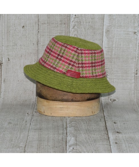 Palarie Model Bucket Carou Roz Cu Bordo Si Olive