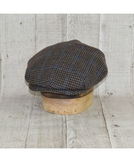 Sapca Model Clasic Vintage Tweed Overcheck Maro Cu Albastru