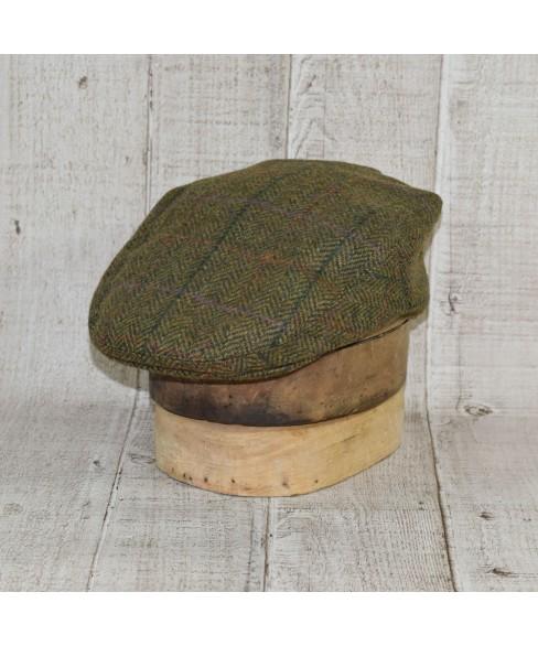 Set Sapca Model Clasic Cu Fular Herringbone Verde Cu Bej