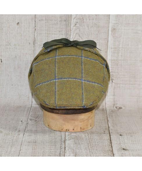 Set Sapca Model Country Flat Cu Fular Carou Olive Cu Albastru