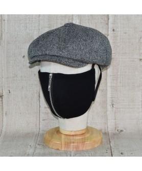 Set Sapca Model Newsboy Peaky Blinders Cu Masca Fashion Cu Fermoar Herringbone Gri Cu Negru