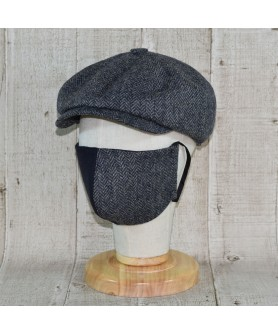 Set Sapca Model Newsboy Peaky Blinders Cu Masca Fashion Herringbone Gri Cu Bleumarin