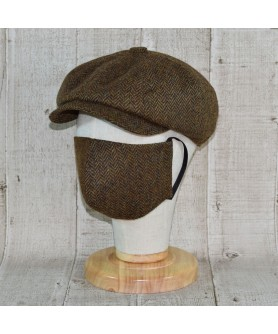 Set Sapca Model Newsboy Peaky Blinders Cu Masca Fashion Herringbone Maro Tabac