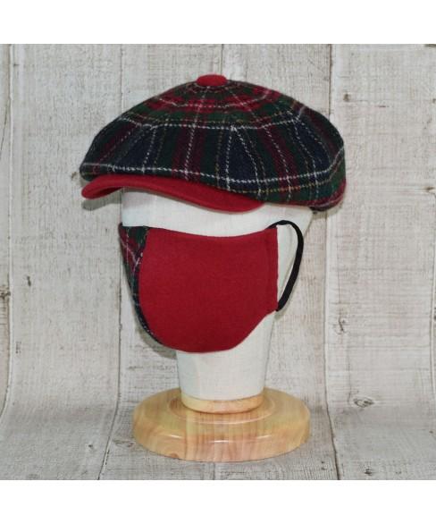 Set Sapca Model Newsboy Peaky Blinders Cu Masca Fashion Tartan Bleumarin Cu Rosu Si Verde