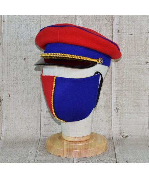 Set Sapca Model Prusac Cu Masca Fashion Rosu Regal Cu Vipusca Si Snur Galben