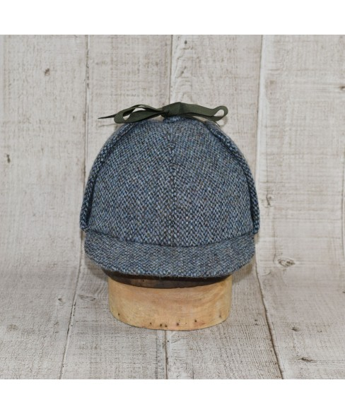 Palarie Model Deerstalker (Sherlock Holmes) Slate Tweed Bleu Cu Kaki