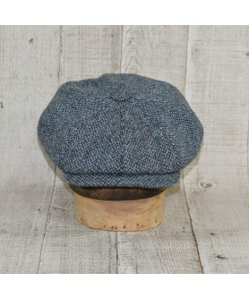 Set Sapca Model Newsboy Peaky Blinders Cu Fular Slate Tweed Bleu Cu Kaki