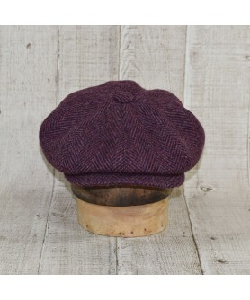 Set Sapca Model Newsboy Peaky Blinders Cu Fular Herringbone Purple Cu Maro