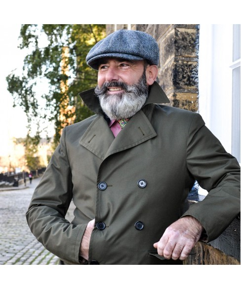 Set Gavroche Cap with Scarf Gray Khaki with Harris Tweed - Ralitza Luxury Collection Model Peaky Blinders