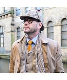 Men's Hats Set DEERSTALKER  With Carou Beige with Beard Sherlock Holmes Model