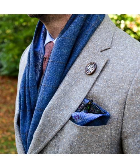Set Barbati Sapca Clasica Cu Fular Carou Albastru si Bej - Colectia Ralitza Luxury