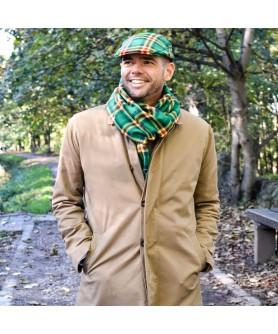 Set Barbati Sapca Clasica Cu Fular Carou Verde si Galben