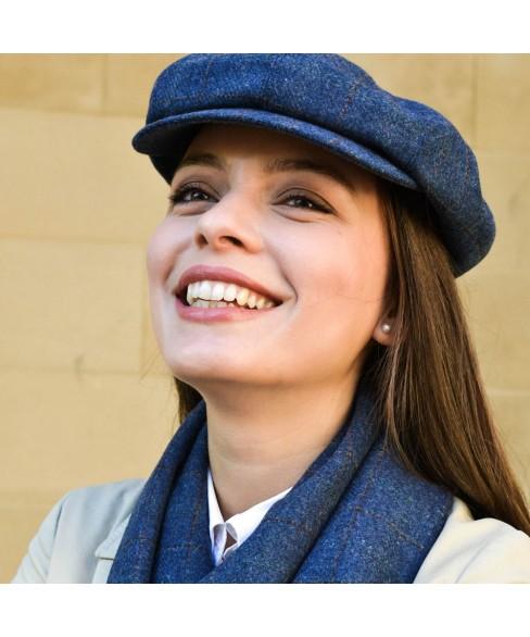 Set Sapca Dama Model Gavroche Cu Fular Carou Gri Si Bej - Colectia Ralitza Luxury